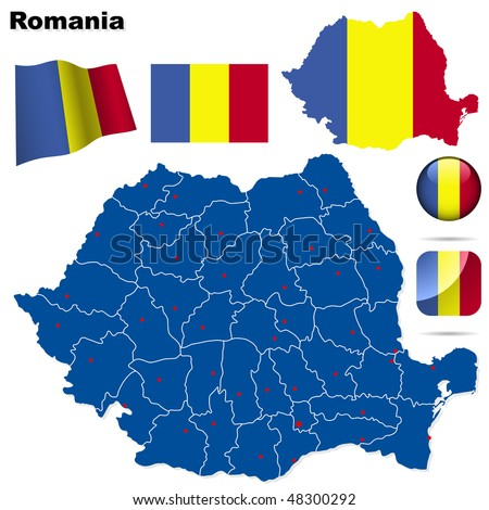 Romania vector set. Detailed country shape with region borders, flags and icons isolated on white background. - stock vector
