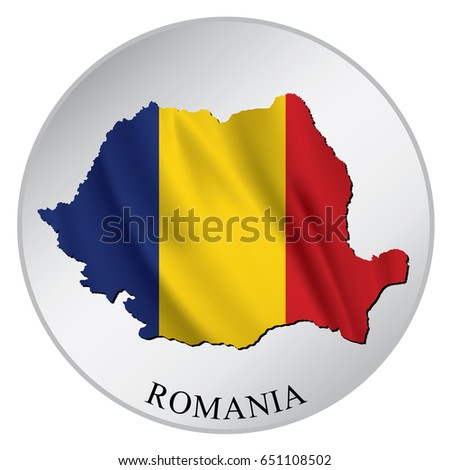 Romania vector sticker with flag and map label round tag with country name