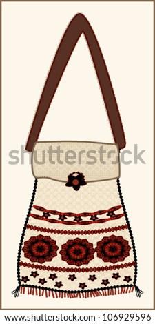 Romanian handicraft bag with folkloric motifs - stock vector