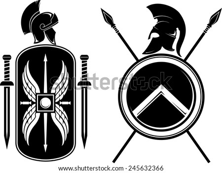 Romans and Spartan Coat of Arms - stock vector