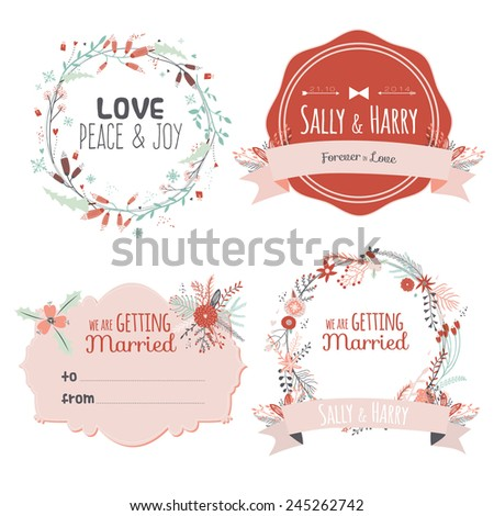 Romantic and love card for Happy Valentines Day. Template for wedding, mothers day, birthday, invitations. Greeting illustration of romantic  bouquets, hearts, flowers, leafs, wreaths, laurels, wishes - stock vector