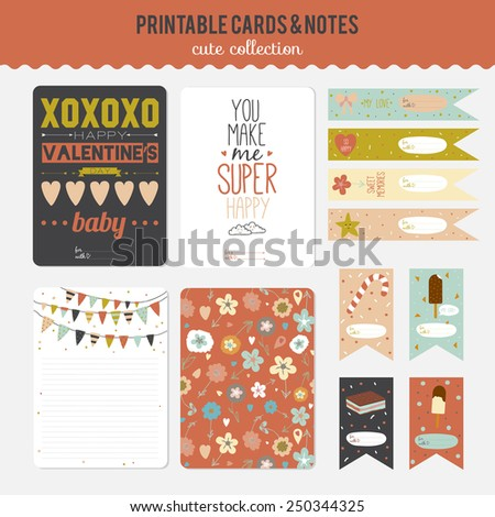 Romantic And Love Cards Notes Stickers Labels Tags With Cute Ornament Illustrations