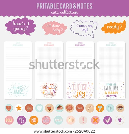 Romantic and love cards, notes, stickers, labels, tags with cute print illustrations. Template for scrapbooking, wrapping, notebooks, notebook, diary, decals, school accessories - stock vector