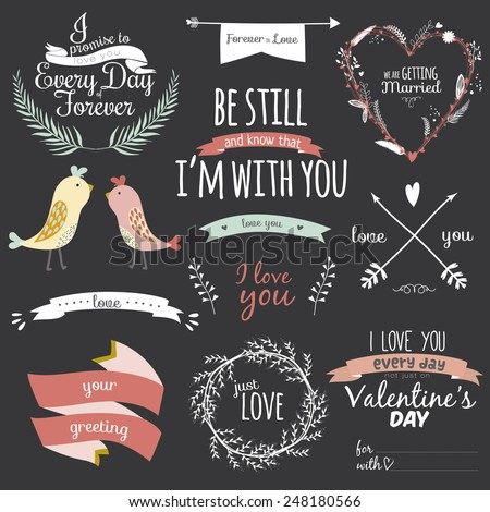 Romantic and love illustrations and typography for Happy Valentines Day. Template for wedding, mothers day, birthday, invitations. Greeting bouquets, hearts, flowers, ribbons, wreaths, laurels, wishes - stock vector
