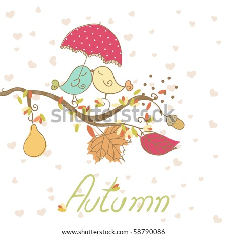 romantic autumn card - stock vector