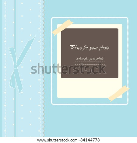 Romantic baby beautiful girl card scrapbooking with your text for invitation, greeting, congratulate,  birthday, label, postcard, frame, gift and etc. (vector version eps 8) - stock vector