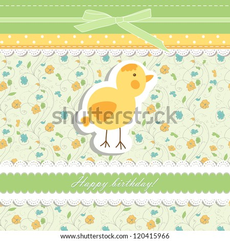 Romantic baby   hand drawing card for greeting illustration, happy birthday backdrop invitation, design element vector eps 8 - stock vector