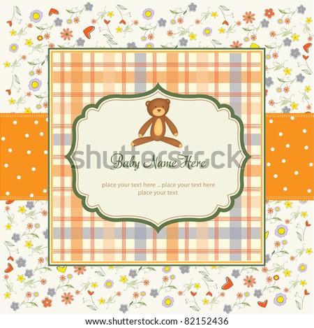 romantic baby shower card - stock vector