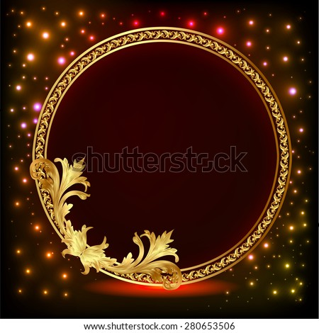 Romantic background illustration frame with gold pattern and stars - stock vector
