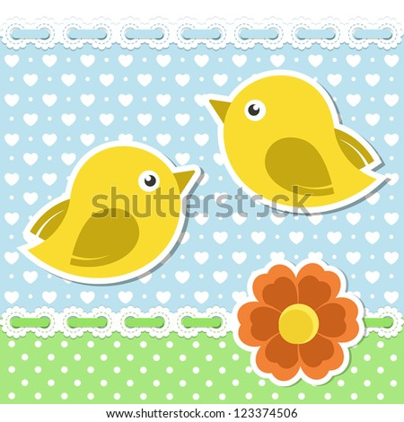 Romantic background with birds and flower - stock vector