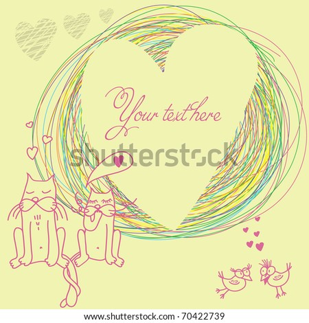 romantic background with cat & bird in love. with place for text - stock vector