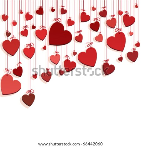 Romantic background with hearts - stock vector