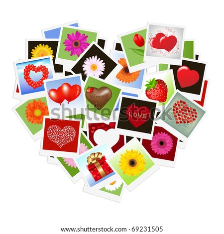 Romantic Background With Hearts From Photo, Vector Illustration - stock vector