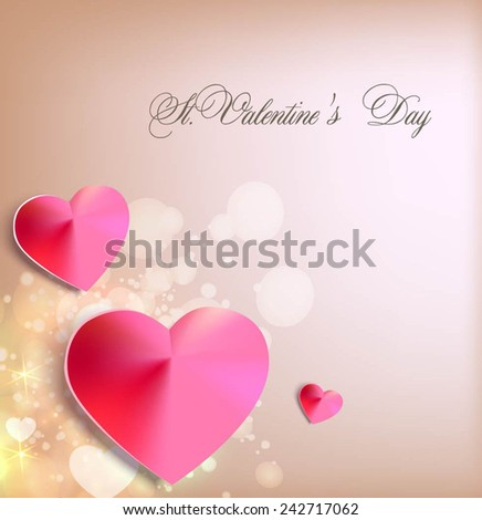 Romantic background with hearts. Vector illustration - stock vector