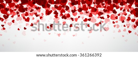 Romantic background with hearts. Vector paper illustration. - stock vector