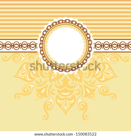 Romantic background with pattern and label. Beige and Yellow - stock vector