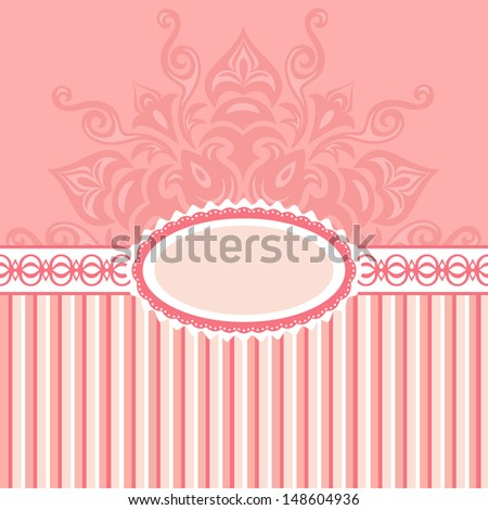 Romantic background with pattern and label. pink - stock vector