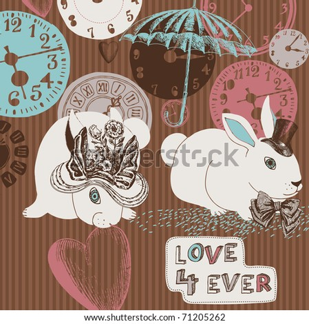 romantic background with rabbits. vintage style - stock vector