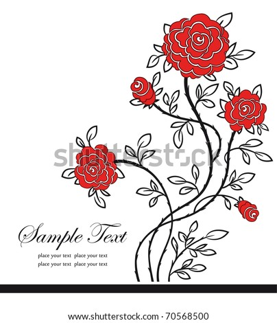 Romantic background with red roses. Vector Illustration - stock vector