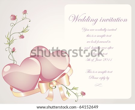Romantic background with rose branch, hearts and silk ribbon