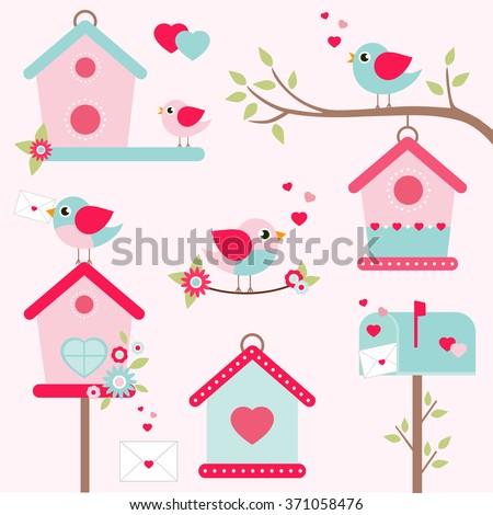 romantic bird houses set - stock vector