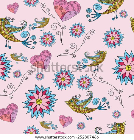 ROMANTIC BIRDS AND HEARTS PATTERN
