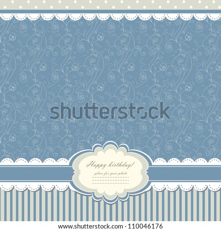 Romantic blue scrapbooking with text for invitation, greeting, happy birthday, label, postcard, frame, baby seamless, child posrcard, children pattern, clip art, holiday, gift and etc, vector eps 8 - stock vector