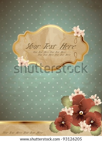 Romantic blue vintage banner with flowers (eps10); jpg version also available