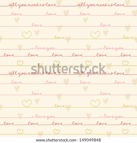 Cute Text Background With Love Words And Hearts Love Note