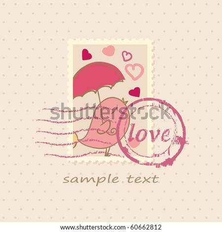 romantic card with bird - stock vector