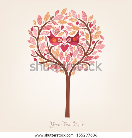 Romantic card with birds - stock vector