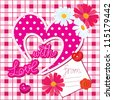 Romantic Card with heart and flowers on checked background - stock vector