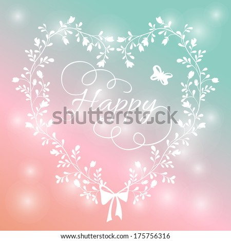 romantic card with heart of wildflowers. bright floral background in retro style with a bow on a stylish background bokeh - stock vector