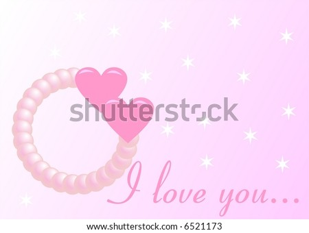 Romantic card with pearls - stock vector