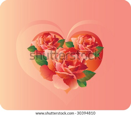 romantic card with roses and heart