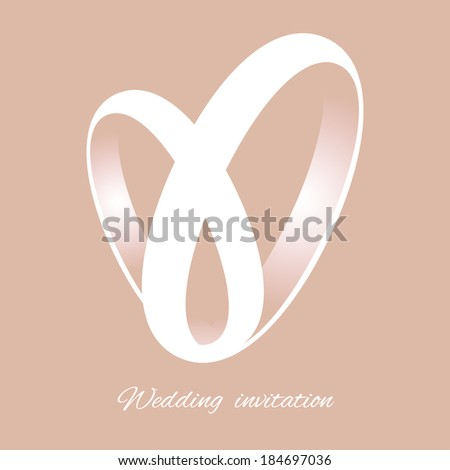 Romantic card with white heart made of ribbons or rings on the peach background. Designed for wedding invitation.  - stock vector