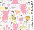 Romantic cartoon wallpaper. Childish background with funny cats and flower. Seamless pattern can be used for wallpapers, pattern fills, web page backgrounds, surface textures. - stock vector
