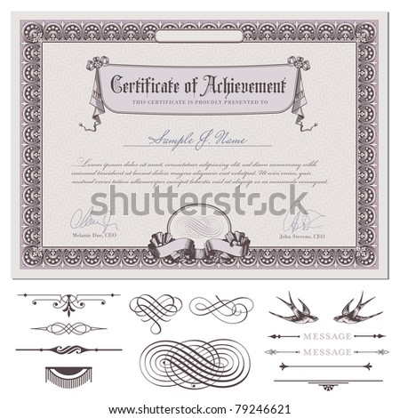 romantic certificate or coupon template with detailed border, drapery, guilloche background and additional design elements (DIN format) - stock vector