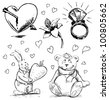 Romantic characters and objects set. Hand drawing sketch vector illustration - stock vector