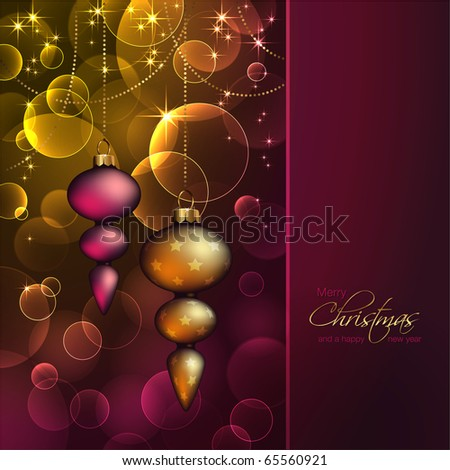 romantic christmas background with ornaments against blurred warm lights - stock vector