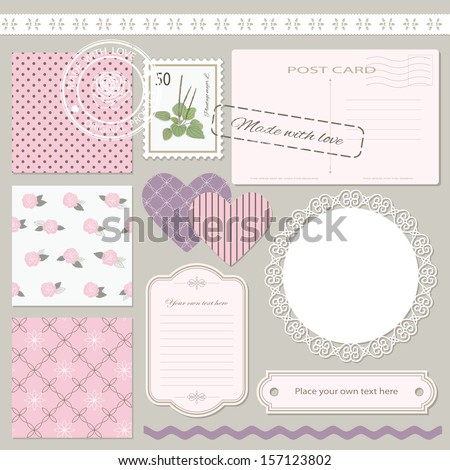 Romantic collection of scrapbook design elements - postcard, stamp, doily, frame, label, lace, ribbon, scrapbook paper, textured hearts. All elements grouped separately, easy to use.