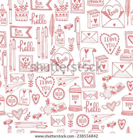 Romantic concept Seamless pattern. Love cute cartoon vector illustration. - stock vector