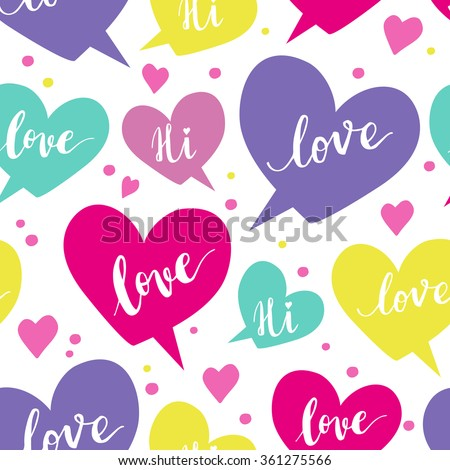Romantic concept seamless pattern with colorful speech bubbles  - stock vector