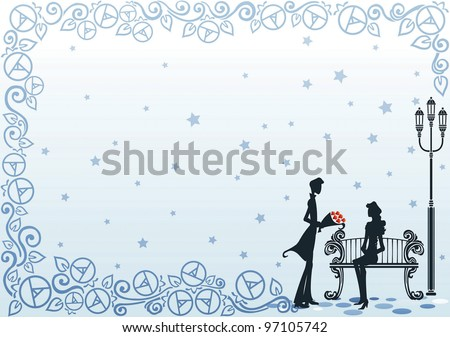 Romantic Couple and Beautiful Rose Park - dating happy young female and male with abstract rose and star pattern on blue background : vector illustration - stock vector