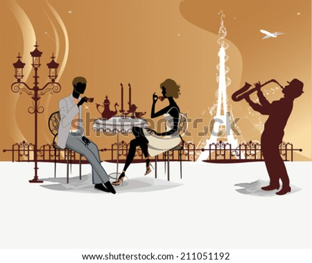 Romantic couple drink coffee in the Paris cafe with a view of the Eiffel Tower - stock vector