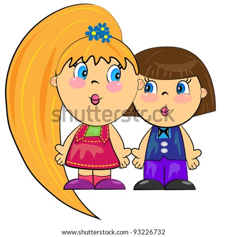 romantic couple isolated on white background. vector cartoon children