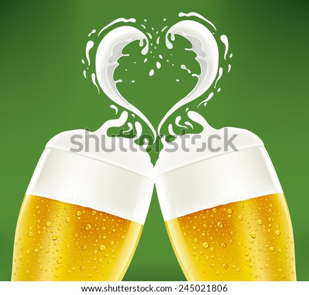 romantic couple of beer glass with foam like heart - stock vector