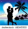 Romantic Couple On Beach - stock vector