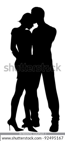 romantic couple silhouettes - stock vector