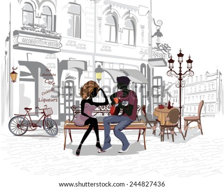 Romantic couple with a guitar sitting on the bench in the old city - stock vector